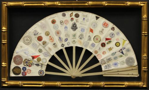 16 Panel 19th C Fan w/ 163 Letterhead Emblems Two-Sided in Gilt Bamboo Frame