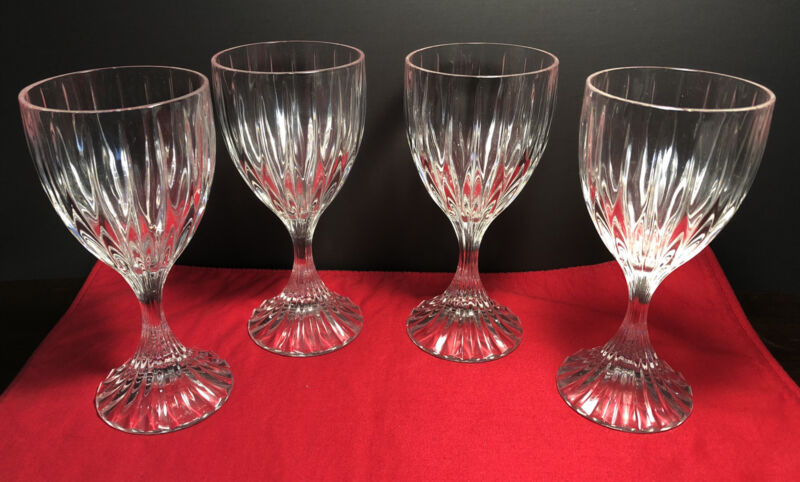 "4 MIKASA PARK LANE CRYSTAL WATER/WINE GOBLETS GLASSES 6-3/8"" TALL"