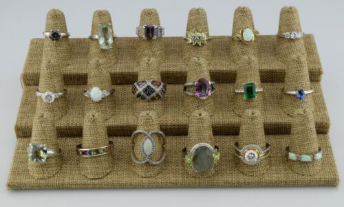 Lot of 18 Sterling Silver Multi Gemstone Rings Bands Various Sizes 6 7 8 9 10