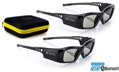 2x 3D Brille Hi-SHOCK® BT Pro Black Diamond für Samsung, Sony & Sharp TV´s aktiv