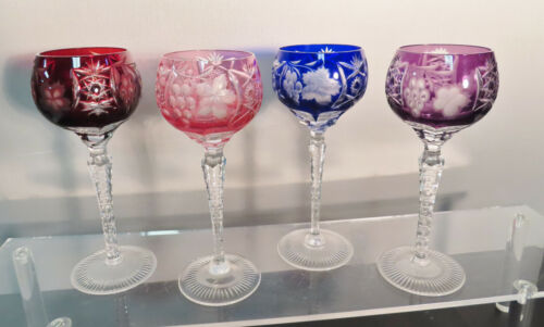 """4-BOHEMIAN  CUT TO CLEAR CRYSTAL WINE GLASSES, 8.1/4"""" t"""