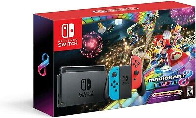 Brand New Nintendo Switch Bundle with Mario Kart 8 Deluxe - Neon Red/Blue