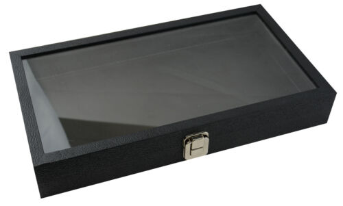 Top Of the Range Large Black Display Case with Glass Lid
