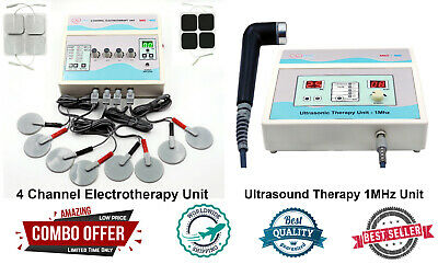Combo 4 Channel Electrotherapy With Ultrasound Therapy 1mhz Pain Relief Machine