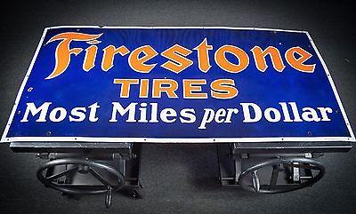 Original Firestone Tires Porcelain Gas Oil Sign  - INVESTMENT CONDITION