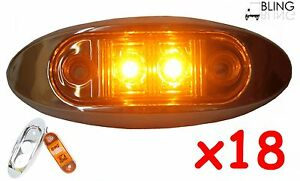 18-Amber-w-Bezel-Clearance-Side-Marker-Surface-Mount-2-LED-Light-Oval-Oblong