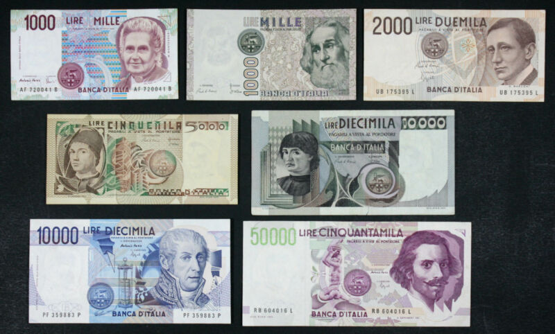 ITALY - Set of 7 Banknotes Notes: 1000-50000 Lire - different periods (F-AU)