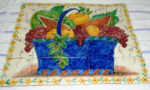 "Set of 20 Mexican Tiles Folk Art 4x4"" Decorative Tiles Art Decor Basket w/fruit"