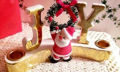 SANTA CHRISTMAS JOY CANDLEHOLDER VINTAGE-STYLE HOLT-HOWARD VERMONT COUNTRY STORE