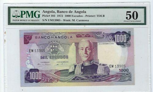Angola 1000 Escudos 1972  P103 Nice Au 50 PMG