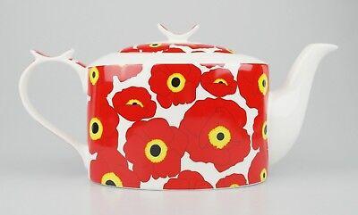 JAMESON&TAILOR Designer-Teekanne, Dekor roter Mohn, Brillantporzellan, 1,5 l (Mohn Küche Dekor)