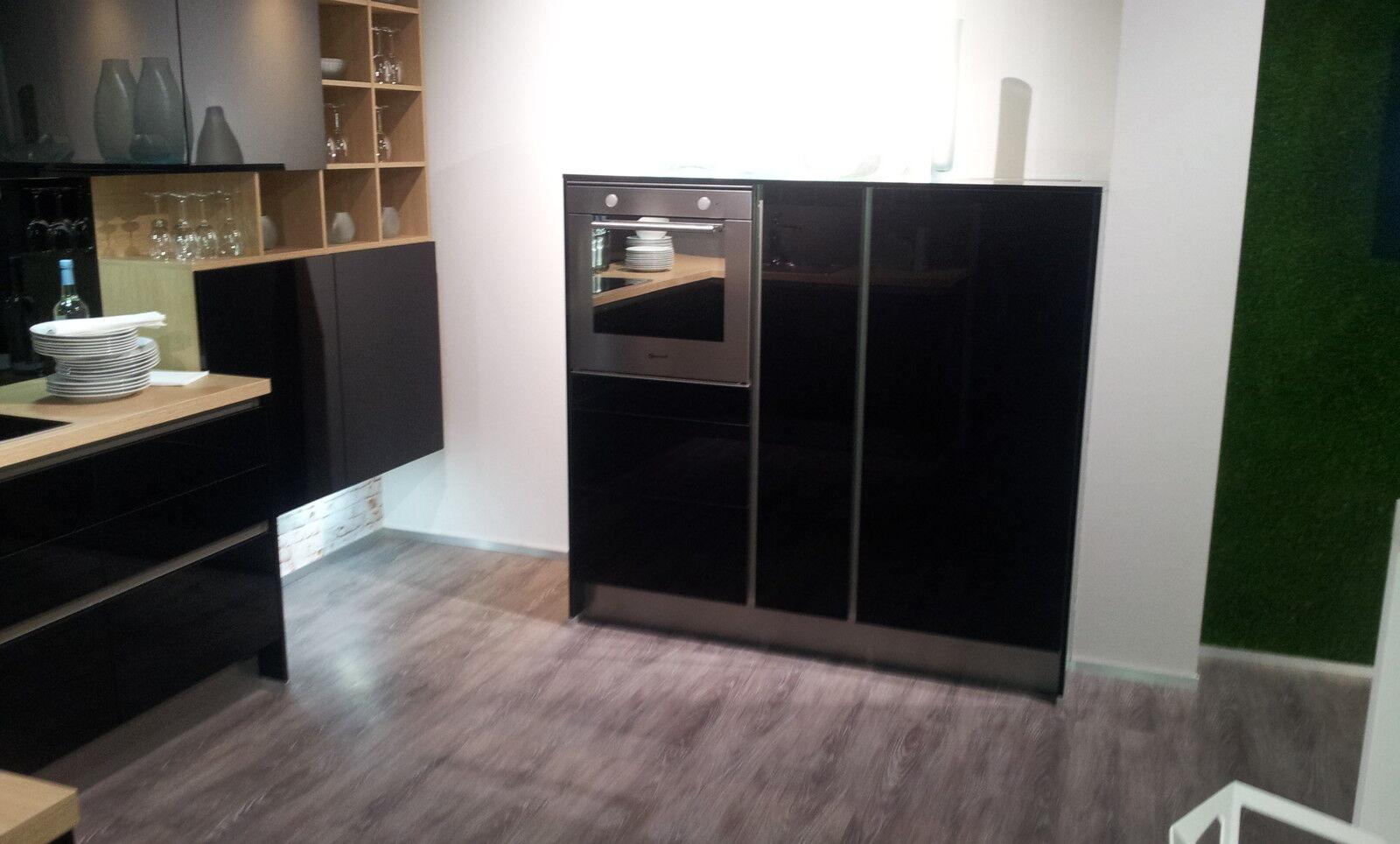 altano glos wohnk che einbauk che in schwarz hochglanz sonoma eiche musterk ch eur. Black Bedroom Furniture Sets. Home Design Ideas