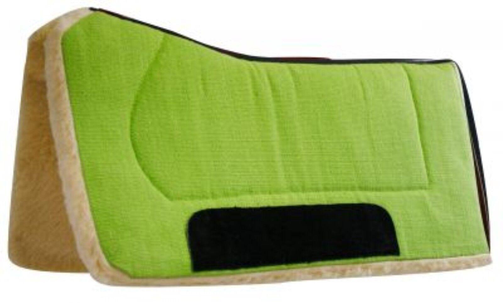 Suede Wear Leathers! Showman LIME 32x32 Contoured Saddle Pad with Felt Bottom