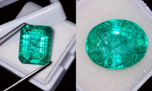 Loose Gemstones Natural Emeralds Certified 8 to 10 Cts 2 Pieces RK47