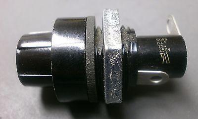 Bussmann Hlf Panel Mount Fuse Holder Rear Nut 15a 250v Screw Cap Solder Lug