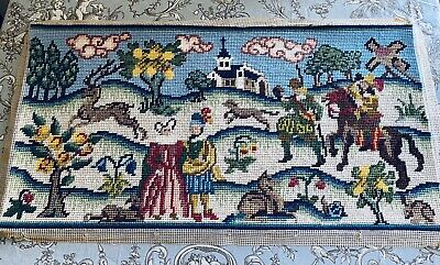 Vintage Hand Embroidered Wool Tapestry Jacobean Needlework Panel Sewing Medieval