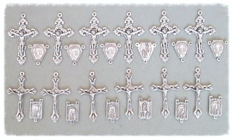 Lot 24 Rosary Crucifixes & Centers Centerpieces Parts Italy Rosaries SILVER