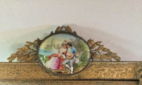 Victorian Ormolu Filigree Footed Vanity Dresser Tray w hp Porcelain Cameos Court