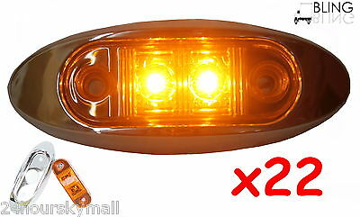 "22 Amber w Bezel Clearance Side Marker 2"" LED Light Oval Oblong Trailer Truck"