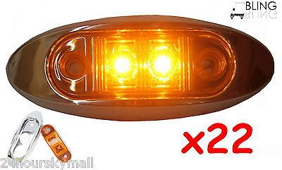 "22 Amber w Bezel Clearance Side Marker 2"" LED Light Oval Oblong Trailer Truck"