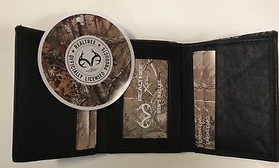 Cloth Tri Fold Wallet - Brand New Realtree Xtra Men's Camo Canvas Fabric 100% Leather TRIFOLD Wallet