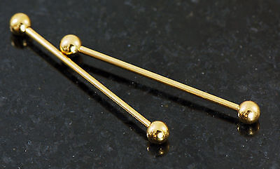 Pair Gold Plated On Surgical Steel Plain Industrial Barbells, Cartilage 14g - Gold Industrial Barbells