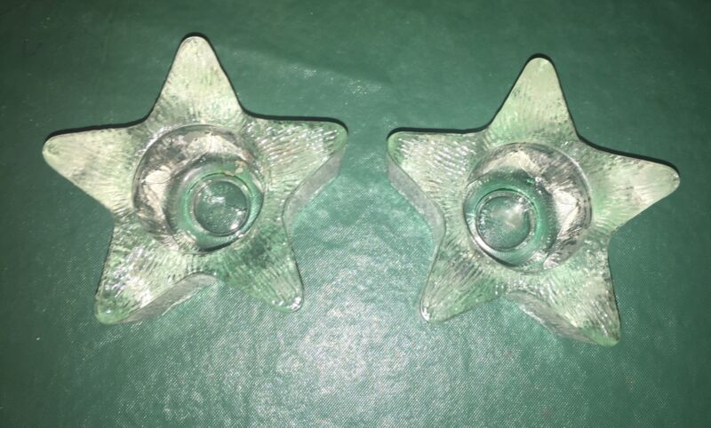 Vintage 1980 Avon Starbright  Candleholder Star Shaped Lot Of Two