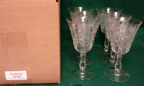 Fostoria HEATHER Low Water Goblets SET OF SIX More Items Available MINT IN BOX