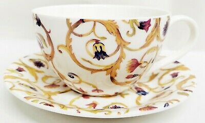Gold Breakfast Cup (Floral Yellow Scroll Mica Gold Cup Saucer Bone China Cappuccino Latte Breakfast )