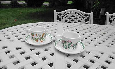 "(2) Portmeirion Botanic Garden Drum Breakfast Cup and Saucer Sets 3"""