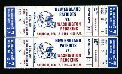 2 Dec 15, 1990 New England Patriots & Washington Redskins Full Tickets 25-10 Was