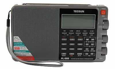 Used Tecsun PL880 PLL Dual Conversion AM FM Shortwave Portable Radio - Gray