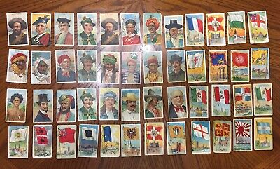 1888-1910 Tobacco Card Lot x48 Flags & Types of all Nations Mixed Grade