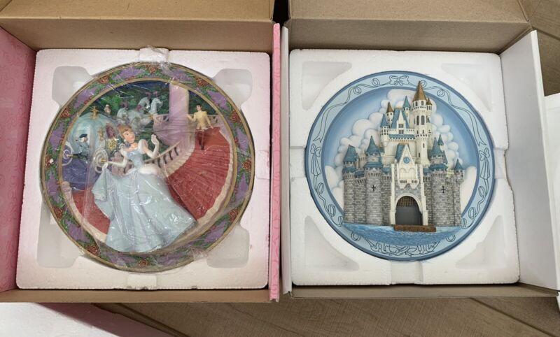 2 Disney Cinderella 3D plates Before The Spell is Broken & Cinderella Castle