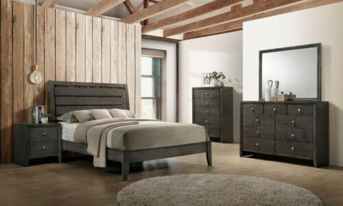 Modern Transitional 5-Piece Bedroom Set with Eastern King Size Bed Gray Finish
