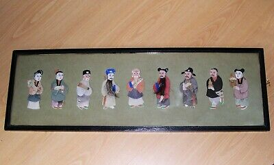 Mixed Media (Cloth, Hair & Card) Colour Nine Chinese Characters Rectangle Frame.