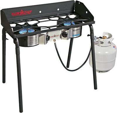 2 Burner Stove W/ Wind Guard Camp Chef Explorer with Easy Control Knobs  Camp Chef 2 Burner