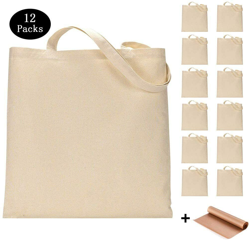12 Pack Blank Canvas Tote Bags Bulk Shopping Bag for Crafts
