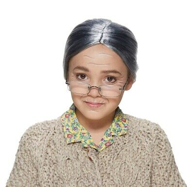 Old Lady Halloween Baby (Old Lady Child Grey Hair Deluxe Wig Bun Grandma Silver)