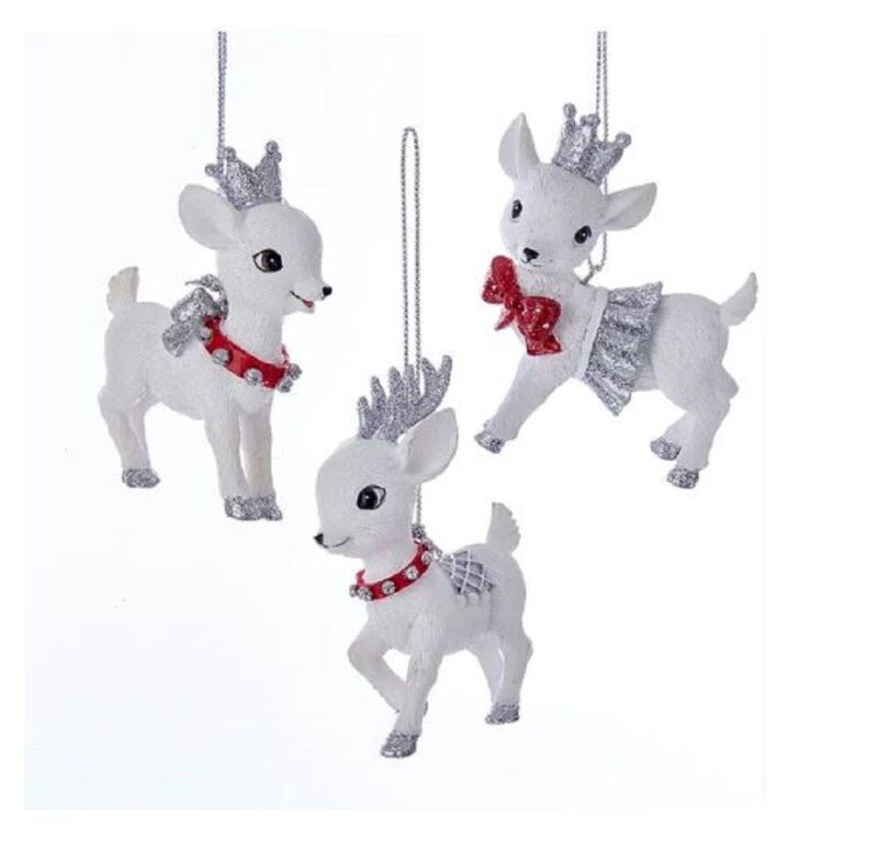 Red and Silver Baby Reindeer Christmas Ornaments Set of 3