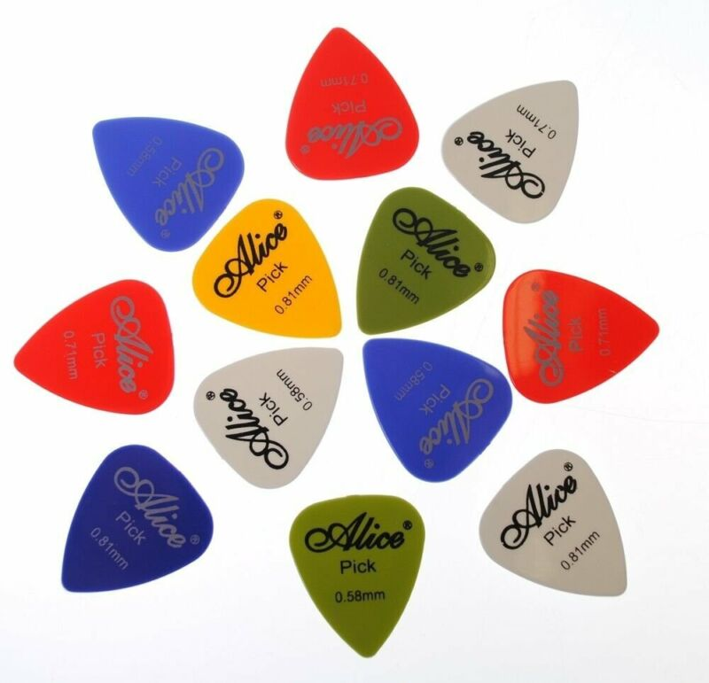 Alice 12 Pack Nylon Guitar Picks .58mm / .71mm / .81mm  Assorted Colors & Sizes