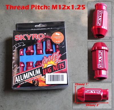 20 Pcs Red Aluminum Tuner Lug Nut Nuts Kit Set M12x1.25 25mm Dia 50mm (Red Tuner Lugs Nuts)