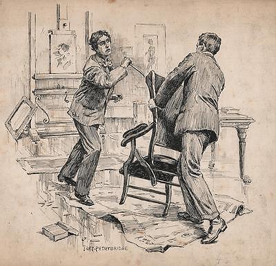 ARTISTS STUDIO KNIFE ATTACK Pen & Ink Drawing JOHN LEY PETHYBRIDGE c1895