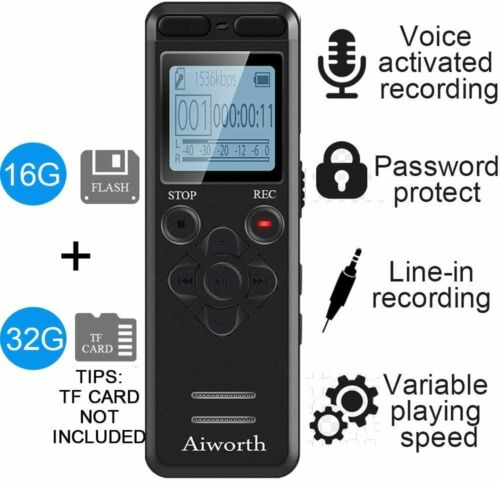 Aiworth 16GB Digital Conference Voice Activated Recorder for Readings S3