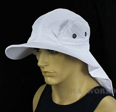Boonie cap Bucket hat Sun Flap Ear Neck Cover Sun Protection Soft material-White - White Bucket Hats