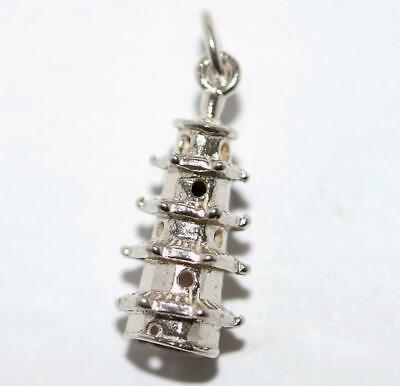 Tiered Tower Pagoda Sterling Silver Vintage Bracelet Charm With Gift Box 2.2g