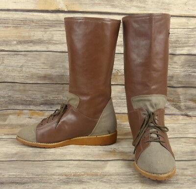 Sporto Fashion Boots Womens Size 7.5 Mid Calf Laces Retro Vintage 1980s Brown