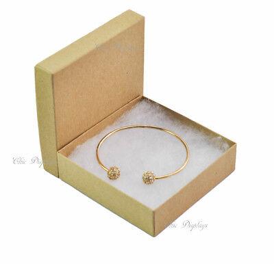 Lot Of 100 Kraft Cotton Filled Box Jewelry Gift Boxes Bracelet Box 3.5x3.5 Hot