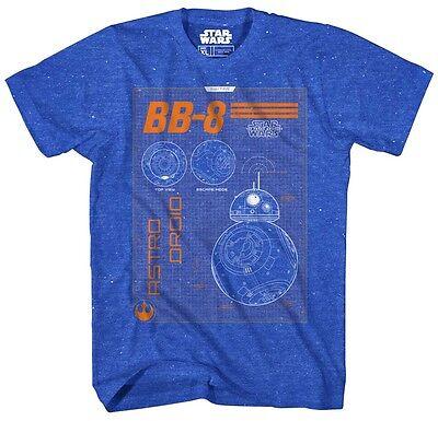 Star Wars BB-8 Droids Blueprint Blue Speckled Men's T-Shirt New (Star Wars Tshirts)