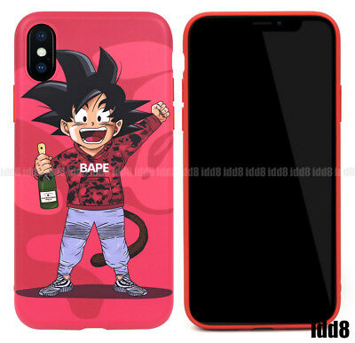 Dragon Ball Z Son Goku Bape Pink Red Soft Phone Case For iPhone X 8 7 Plus